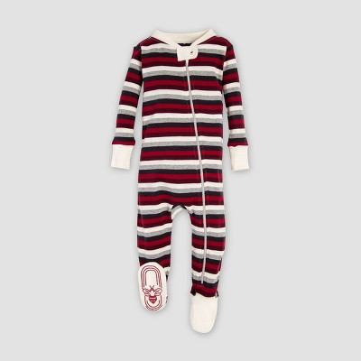 Burt's Bees Baby Organic Cotton Striped Footed Pajama Sleeper - Red/Cream 0-3M