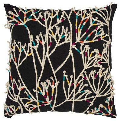 """20""""x20"""" Oversize Impressionistic Botanical Square Throw Pillow Cover Black - Rizzy Home"""