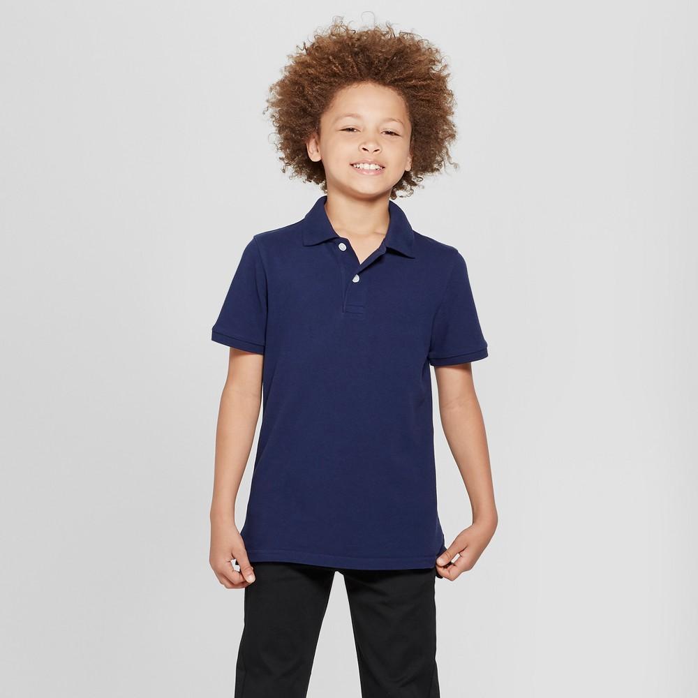 Boys' Short Sleeve Stain Release Uniform Polo Shirt - Cat & Jack Navy (Blue) S