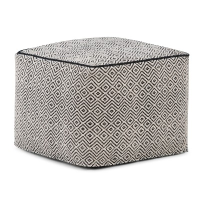 Dougan Square Pouf Patterned Black/Natural Cotton - Wyndenhall