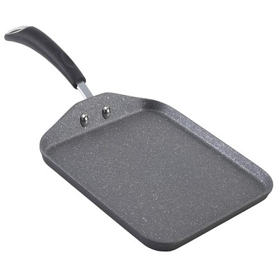 Bialetti 7555 Impact Covered Nonstick Heavy Gauge Aluminum Oven Safe 10 Inch Square Griddle Kitchen Pan with Silicone Handle, Gray