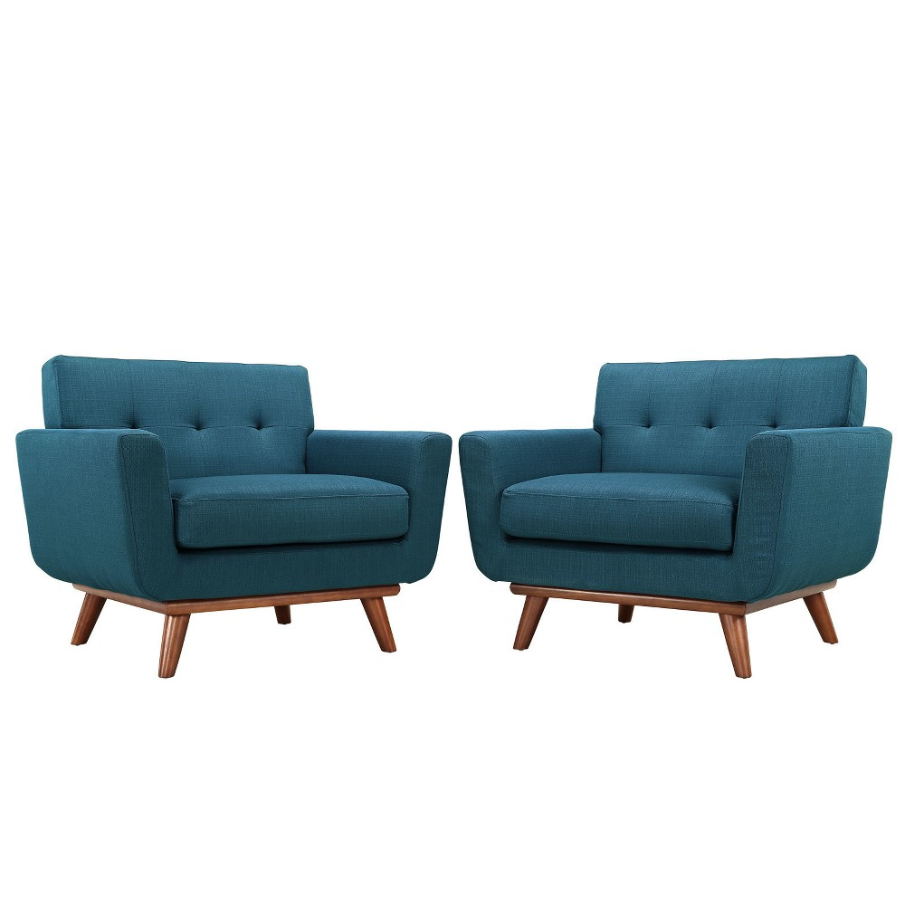 Engage Armchair Wood Set of 2 Azure (Blue) - Modway