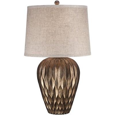 Possini Euro Design Modern Table Lamp Bronze Geometric Pattern Urn Tapered Drum Shade for Living Room Family Bedroom Bedside