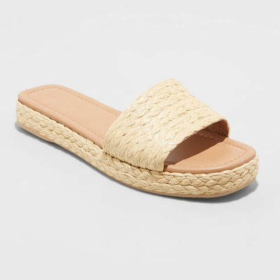 Women's Mardi Raffia Platform Slide Sandals - Universal Thread™