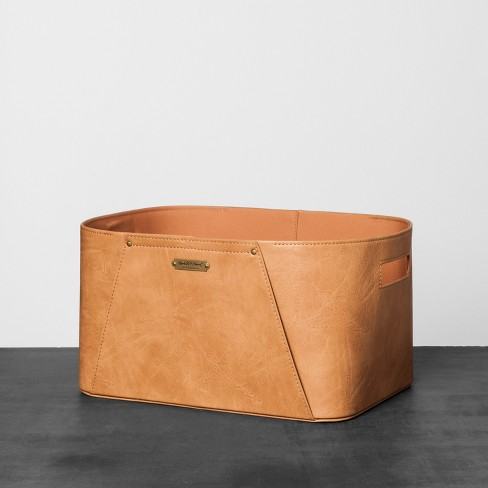 Faux Leather Storage Bin Brown Hearth Hand With Magnolia