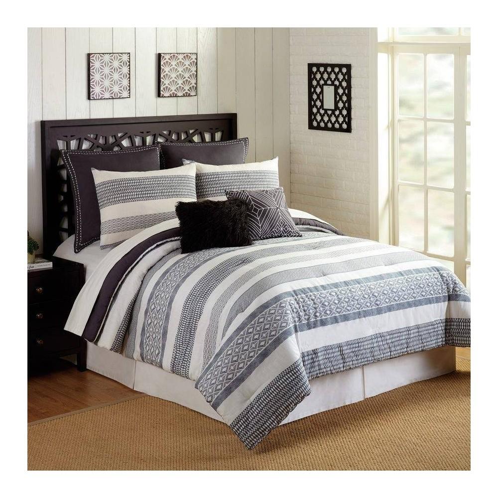 Image of Presidio Square King 7pc Deco Stripe Comforter & Sham Set Gray/Ivory, Gray Beige Multicolored