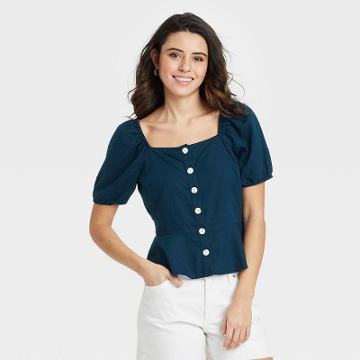 Women's Puff Short Sleeve Peplum Blouse - Universal Thread™