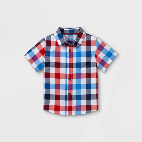 Toddler Boys' Plaid Poplin Woven Short Sleeve Button-Down Shirt - Cat & Jack™ Red - image 1 of 2