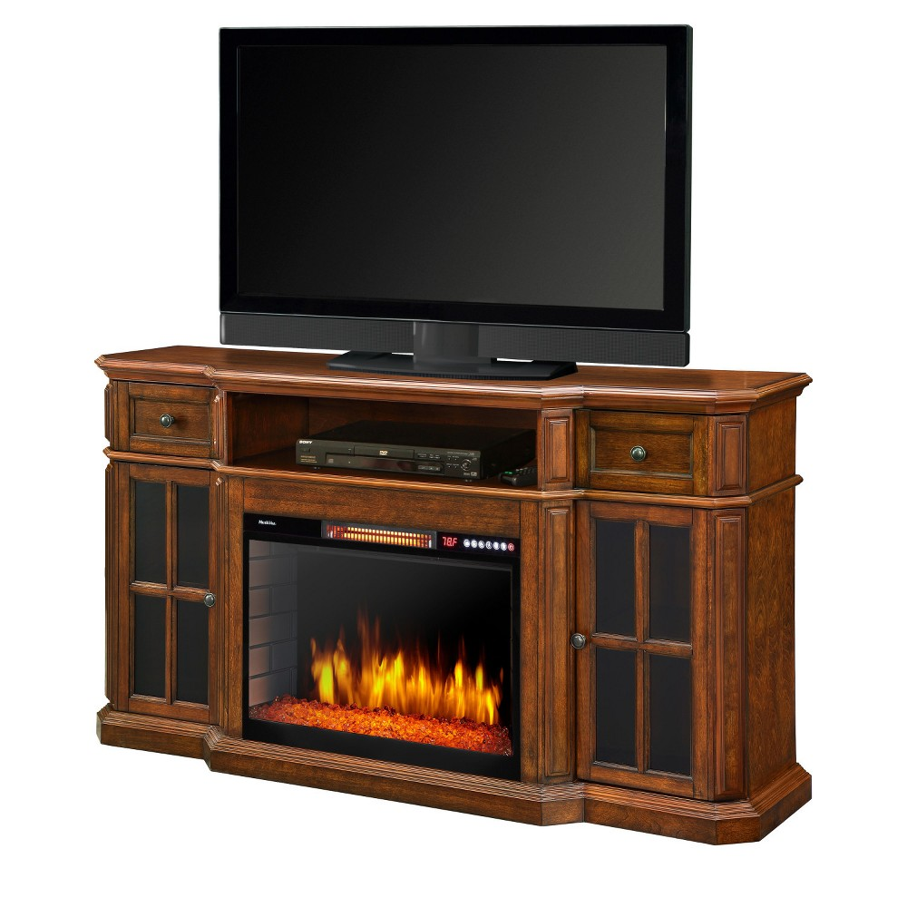 "Image of ""Sinclair 60"""" Media Fireplace Aged Cherry - Muskoka, Red"""