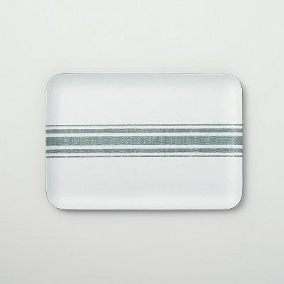 Variegated Center Stripes Melamine Serve Tray Light Gray/Green - Hearth & Hand™ with Magnolia