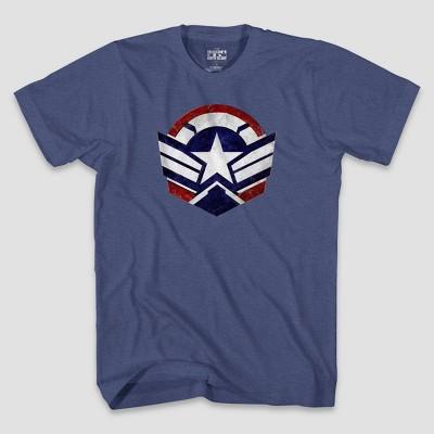 Men's Marvel Falcon Shield Short Sleeve Graphic T-Shirt - Heather Blue