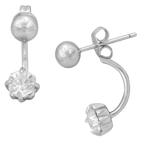 Women's Cubic Zirconia and Ball Stud Earring Set in Silver Plating (5mm) - image 1 of 1