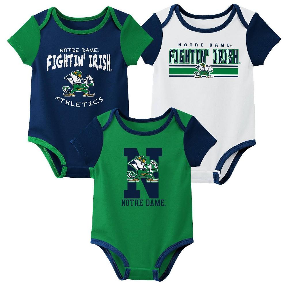 Ncaa Notre Dame Fighting Irish Baby Boys 39 3pk Bodysuit Set 12m