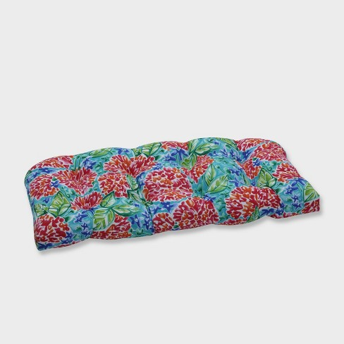 Garden Blooms Wicker Outdoor Loveseat Cushion Pink - Pillow Perfect - image 1 of 2