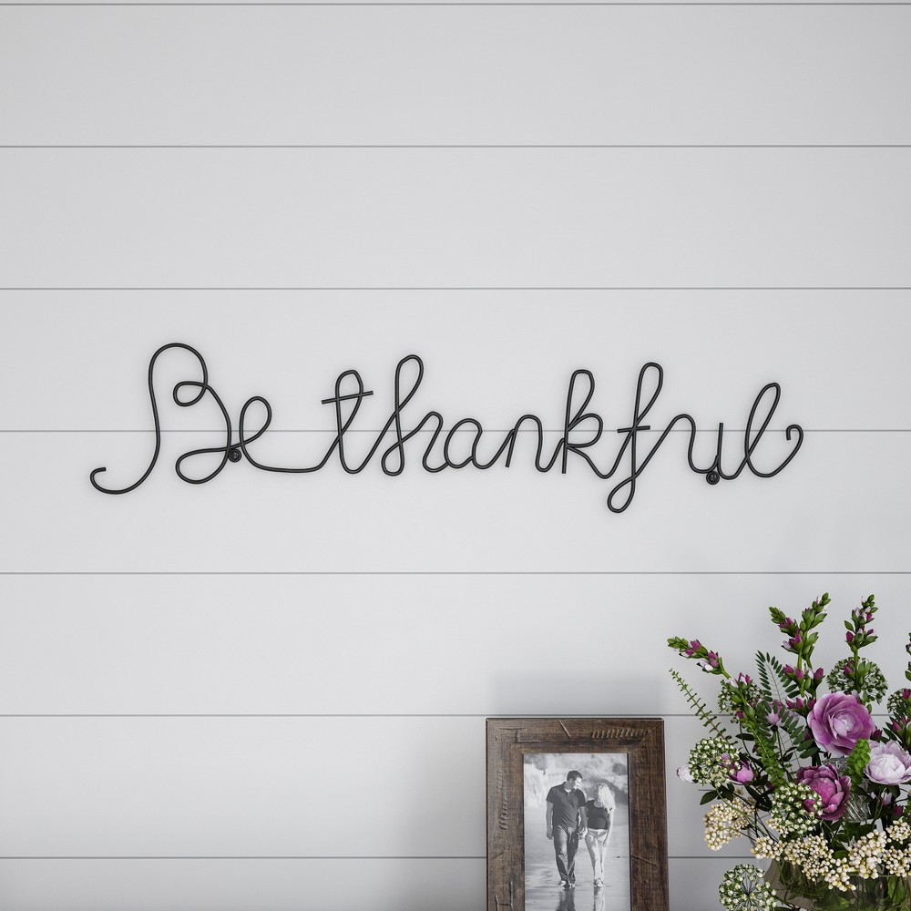 "Image of """"""Be Thankful"""" Cursive Metal Cutout Sign Black - Lavish Home"""