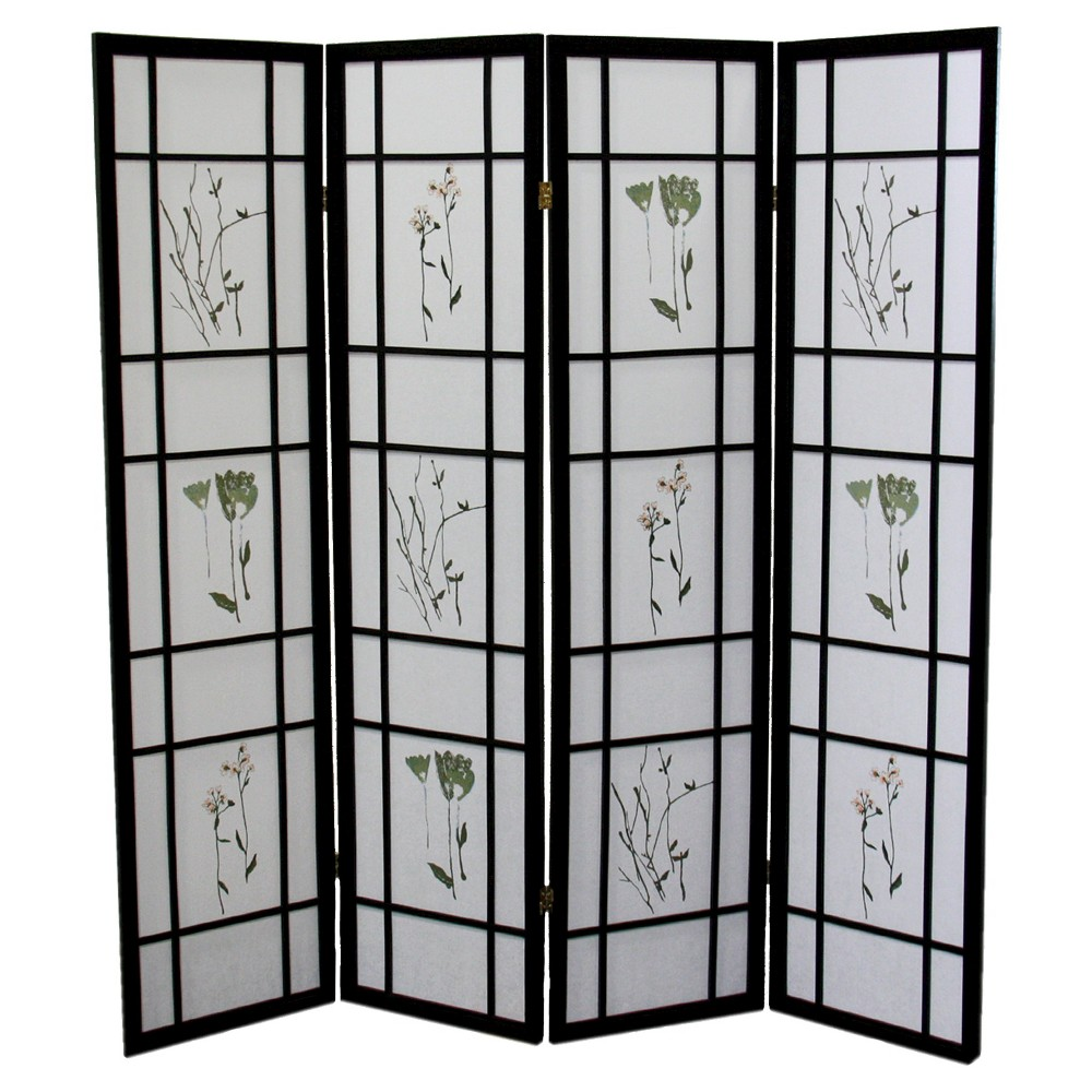 3 Panel Room Divider Cherry - Ore International, Black