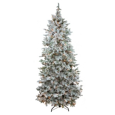 Northlight 7.5' Prelit Artificial Christmas Tree Flocked Slim Colorado Spruce - Clear Dura-Lit Lights