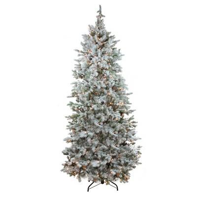 Northlight 7.5' Prelit Artificial Christmas Tree Flocked Slim Colorado Spruce - Clear Dura-Lit Lights