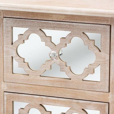 Celia Wood And Mirror 2 Drawer Quatrefoil Nightstand Natural - Baxton Studio : Target