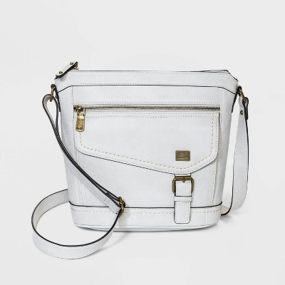 Bolo Zip Closure Crossbody Bag - Light Gray