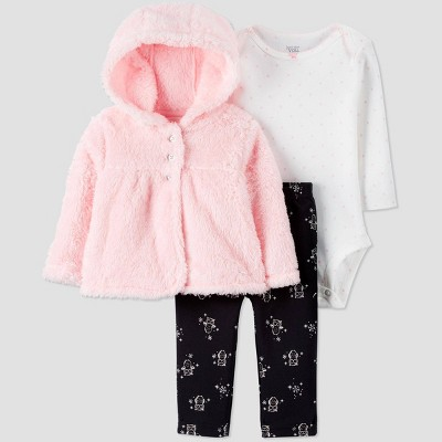 Baby Girls' Sherpa Cardigan Top & Bottom Set - Just One You® made by carter's Pink/White/Black 9M