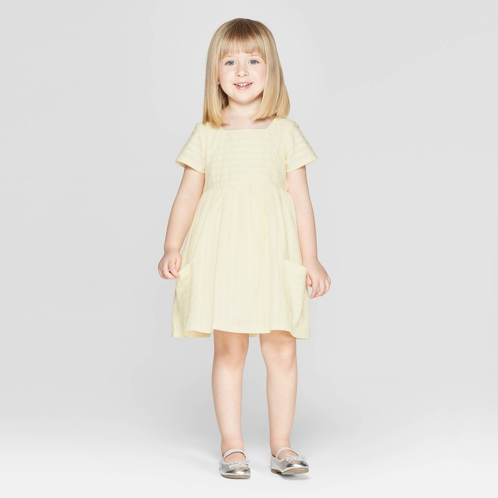Image of Mila & Emma Toddler Girls' Stripe A-line Dress with Pockets - White/Yellow 12M, Girl's