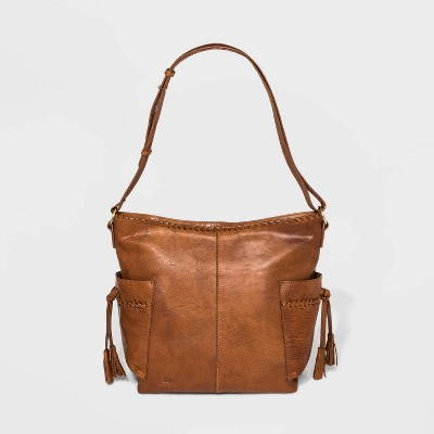 Bolo Zip Closure Barrow Tote Handbag - Brown