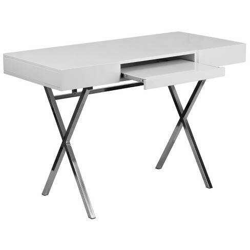 44.25\'\'W X 21.625\'\'D Computer Desk with Keyboard Tray and Drawers - White  Laminate Top/Chrome Frame - Riverstone Furniture Collection