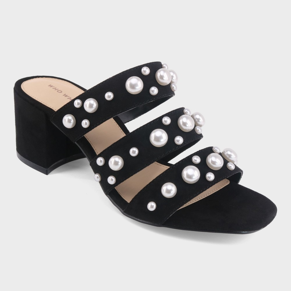 Women's Alice Multi Band Pearl Heeled Pumps - Who What Wear Black 6