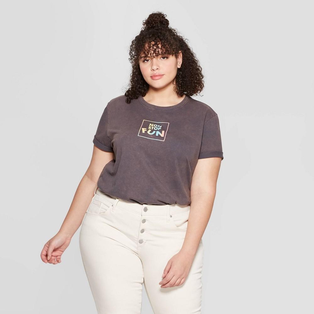 Women's Plus Size Short Sleeve Non Stop Fun T-Shirt - Mighty Fine (Juniors') - Charcoal Wash 1X, Black