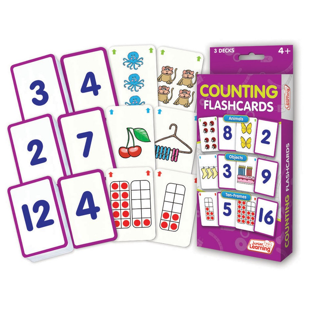 Junior Learning Counting Flashcards - Animals, Objects & Ten-Frames