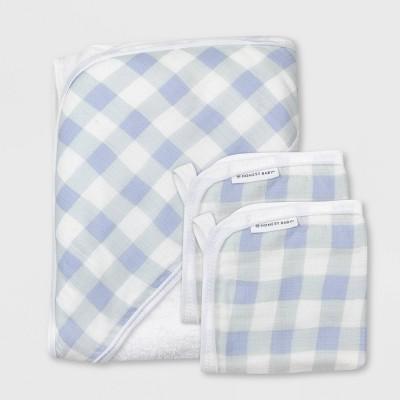 Honest Baby Boys' 3pc Organic Cotton Plaid Hooded Bath Towel Set - Blue