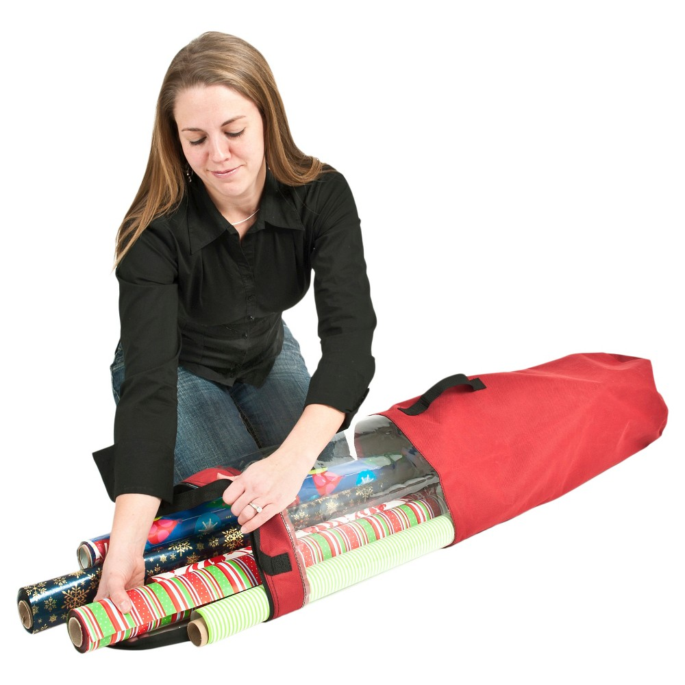 TreeKeeper Santa's Bags Wrapping Paper Storage Tube, Red