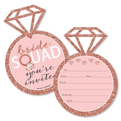 Big Dot of Happiness Bride Squad - Shaped Fill-in Invites - Rose Gold Bridal Shower or Bachelorette Party Invitation Cards with Envelopes - Set of 12