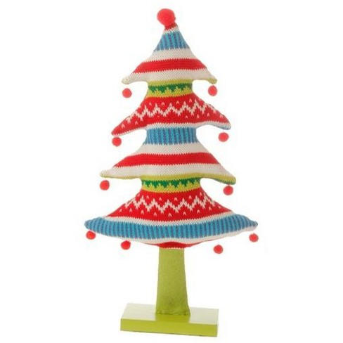 """Raz Imports 15.5"""" Merry & Bright Plush Knit Nordic Striped Christmas Tree Table Top Decoration - image 1 of 1"""