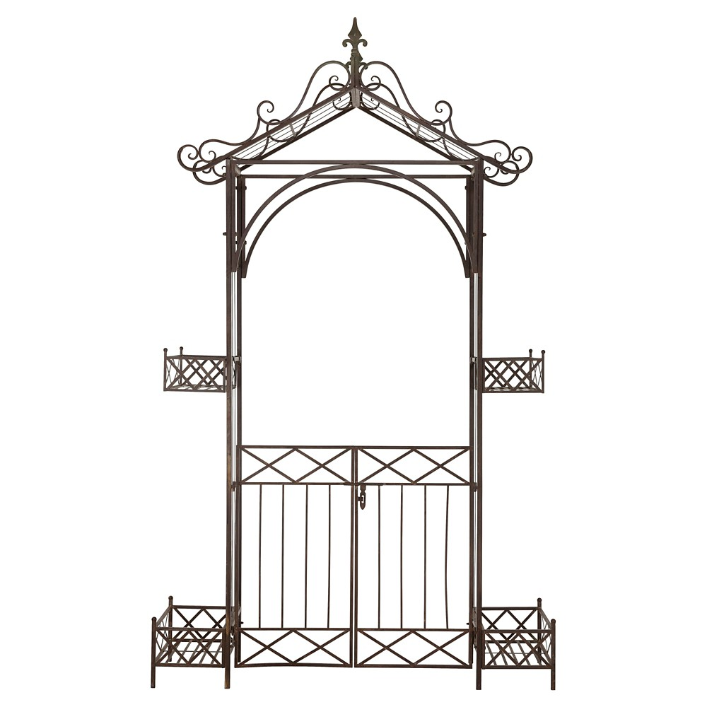 Destiny 15.8 Iron Gated Arbor - Rustic Brown - Safavieh