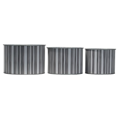 Set of 3 Multicolored Striped Galvanized Round Metal Planters - Foreside Home & Garden