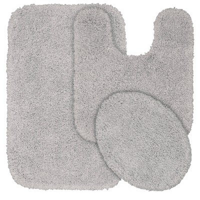3pc Serendipity Shaggy Washable Nylon Bath Rug Set Platinum Gray - Garland