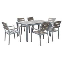 Gallant 7pc Rectangle Metal Patio Dining Set - Sun Bleached Gray - CorLiving