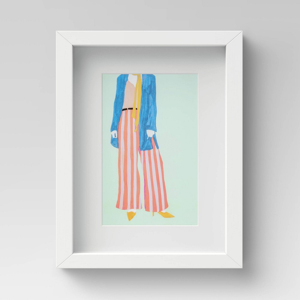 """Image of """"11"""""""" x 14"""""""" Woman With Striped Pants Framed Wall Art - Project 62"""""""