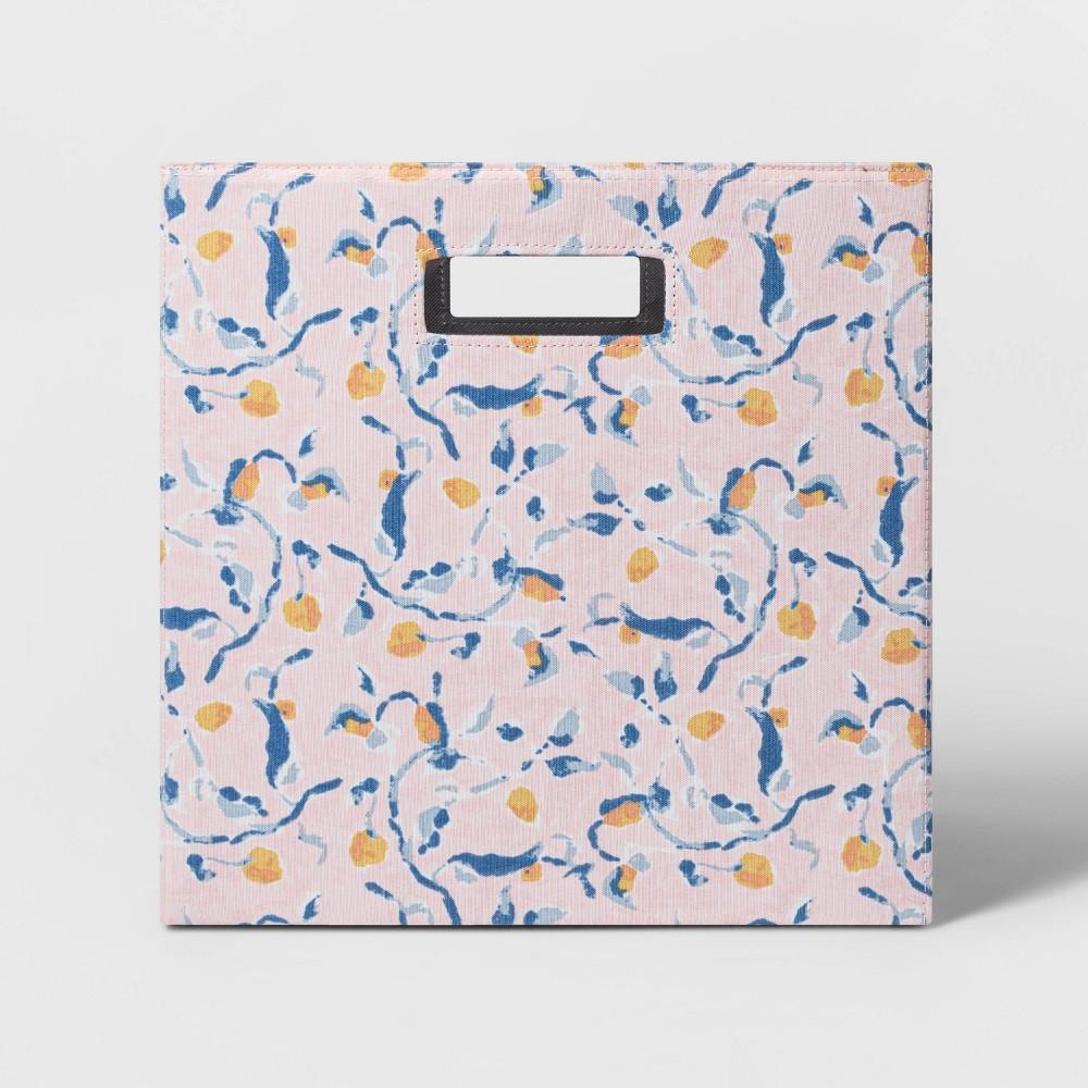 13 34 Fabric Cube Storage Bin Blush Floral Pattern Threshold 8482