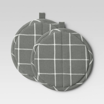 2pk Yarn Dyed Woven Pot Holders Gray - Room Essentials™