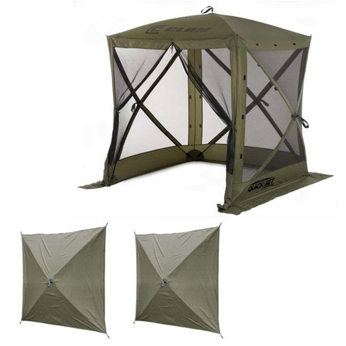 Clam Quick-Set Traveler Outdoor Screen Shelter w/Wind Panels (2 Pack), Green
