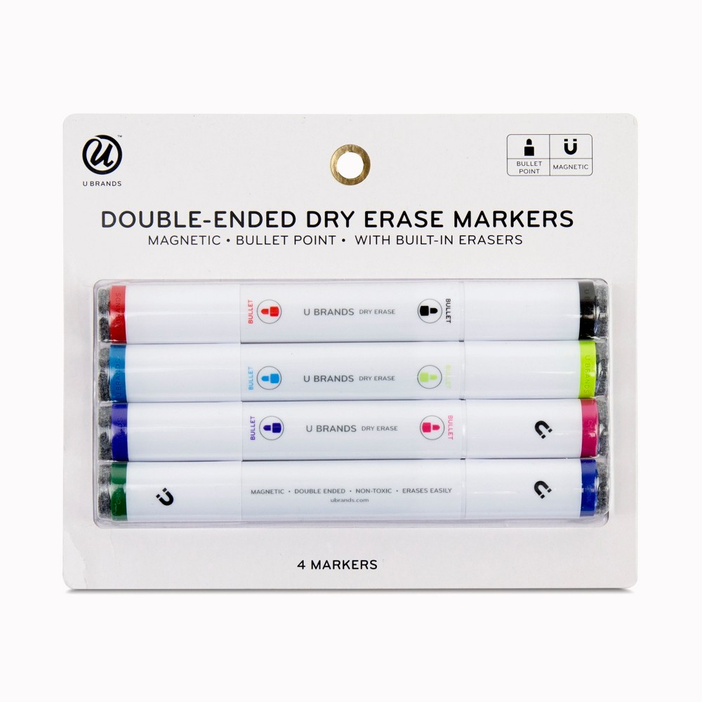 Ubrands Magnetic Double-Ended Dry Erase Markers 4ct, Black/Red/Blue/Lime Green/Purple/Light Blue/Pink/Green