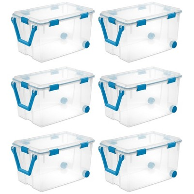 Sterilite 19434303 120 Quart Clear Plastic Storage Container Box and Lid with Blue Latches and Wheels (6 Pack)