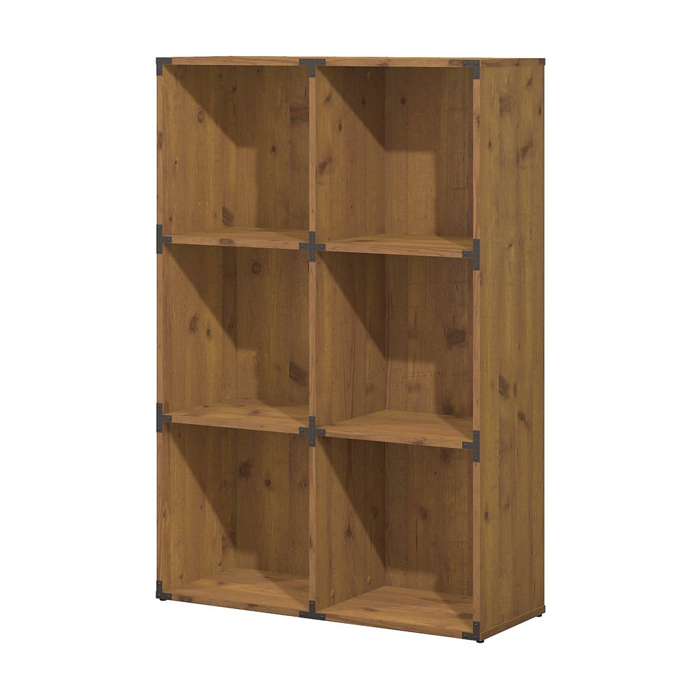Image of Kathy Ireland Office Ironworks 6 Cube File Cabinet Bookcase In Vintage Golden Pine - Bush Furniture