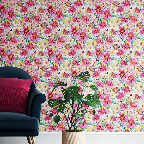 Antheron Floral Peel & Stick Removable Wallpaper Pink - Opalhouse™ - image 1 of 3