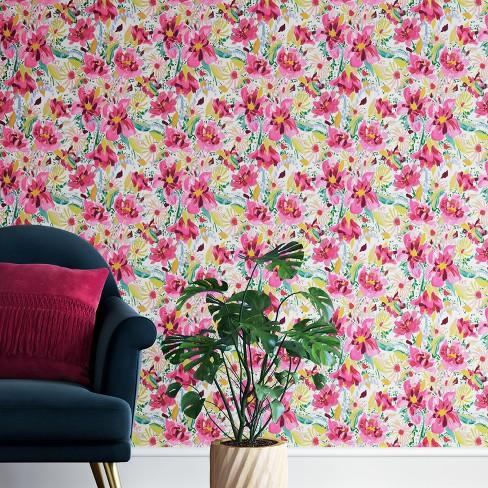 Antheron Fl L Stick Removable Wallpaper Pink Opalhouse