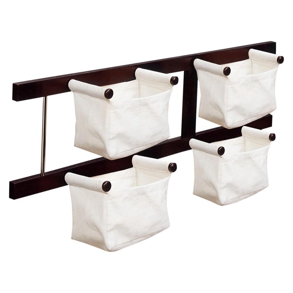 Storage-Magazine Rack with 4 Canvas Baskets - Dark Espres...