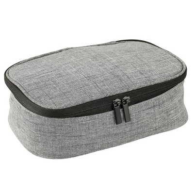 mDesign Fabric Travel Electronic Accessories Bag, Zipper/Handle - Gray